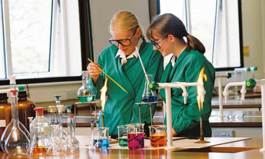 Girls doing an experiment