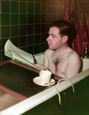 Immersed … Peter Brook reading a script in the bath, 1949.