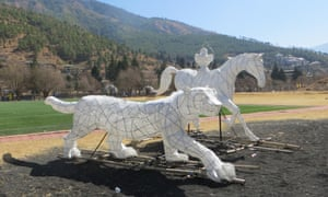 At the festival, sculptors from Cornwall created this snow leopard and horse out of bamboo and paper