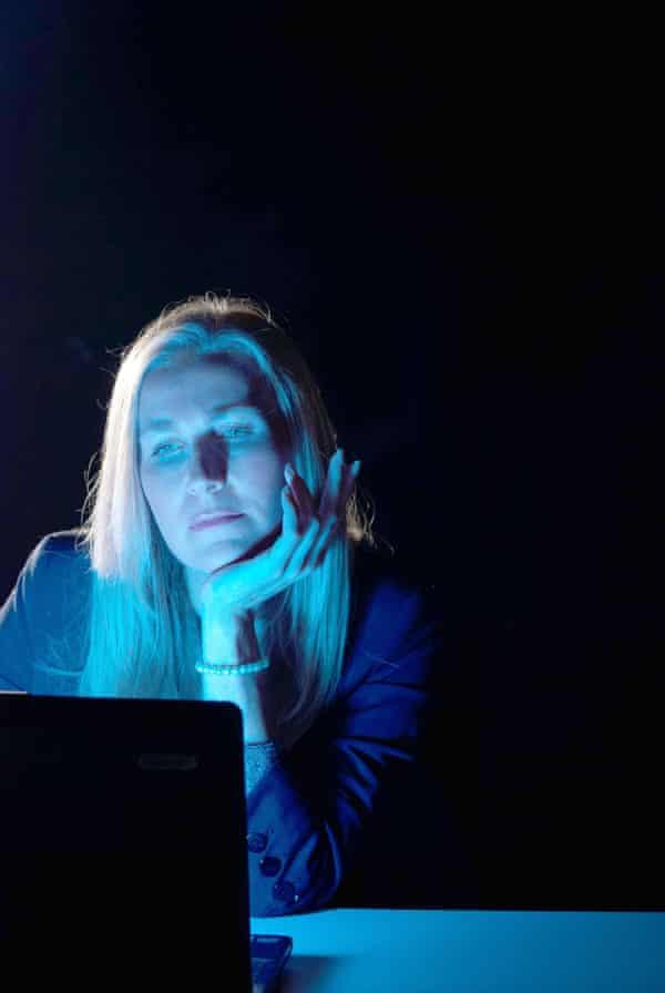 Blue computer screen.