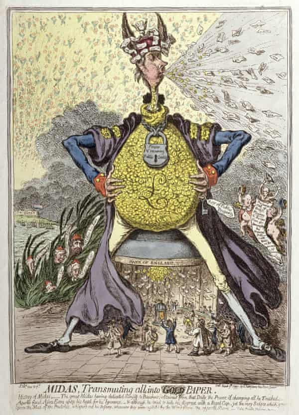 Gillray's Midas Transmuting All into Gold Paper, published by Hannah Humphrey in 1797 (hand-coloured etching). Courtesy of the Warden and Scholars of New College, Oxford