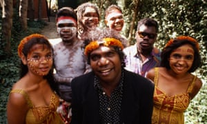 Yothu Yindi pictured in 1992 with lead singer Dr Yunupingu in the centre – used with permission from the family.