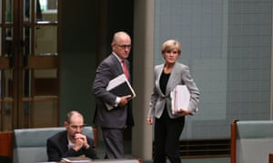 Foreign minister Julie Bishop and communications minister Malcolm Turnbull during question time in the House of Representatives this afternoon.