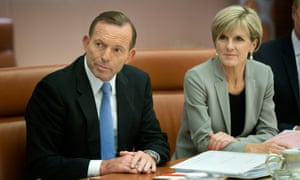 Tony Abbott and Foreign Minister Julie Bishop preparing for a cabinet meeting.