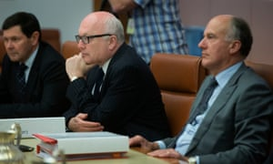 Attorney-General George Brandis, who was censured by the senate today regarding his treatment of Gillian Triggs, flanked by Kevin Andrews and Eric Abetz.