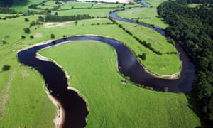 The River Severn winding its way through Shropshire. It has a sinuosity of 2.8, which is a little less than pi.