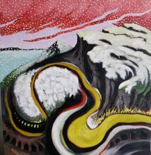"Yellow Road Series VI ""Listen. Snow Flakes Falling"" 2015 oil on birch cradle 36"" X 36"" X 2"""