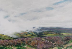 Clouds Rolling Over Exmoor Acrylic on canvas. We stopped the car to catch these clouds rolling over the Exmoor landscape from the sea. I took a few photos with my mobile and within a few minutes the landscape had disappeared under cloud. The photos were not at all good but I was able to capture the scene on canvas at home