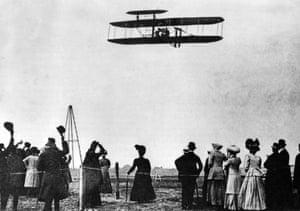 Orville Wright flies over Tempelhof, 1909.