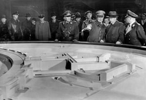 Hermann Göring and other officials examine a model of Tempelhof Airport, 1937.