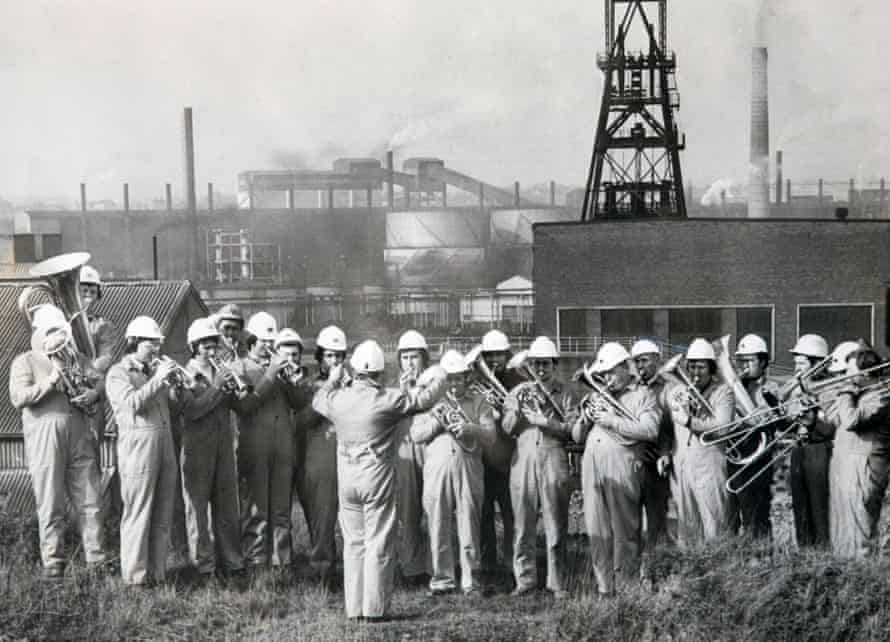 Grimethorpe Brass Band playing in front of the Pit yard in 1977.