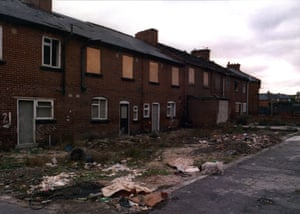 Boarded up terraced homes in the backstreets of Grimethorpe Yorkshire, 1996.