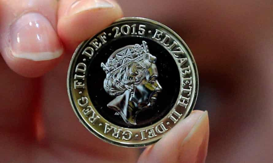 A new two pound coin with the latest portrait of the Queen