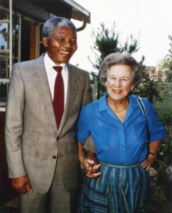 Anti-apartheid activist Helen Suzman in 1990 with Nelson Mandela at his home in Soweto.