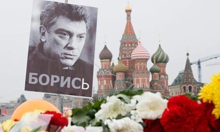 flowers left for opposition leader Boris Nemtsov, shot in Moscow