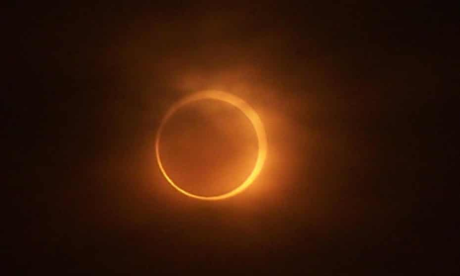 A view of an annular eclipse in progress in Kaifeng in central China's Henan province.