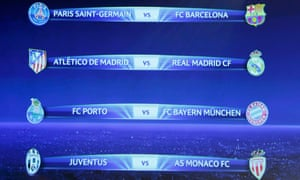 The draw for the Champions League 2014-15 quarter-finals.