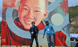 Kevin Ledo canvas at the Bhutan International Festival.
