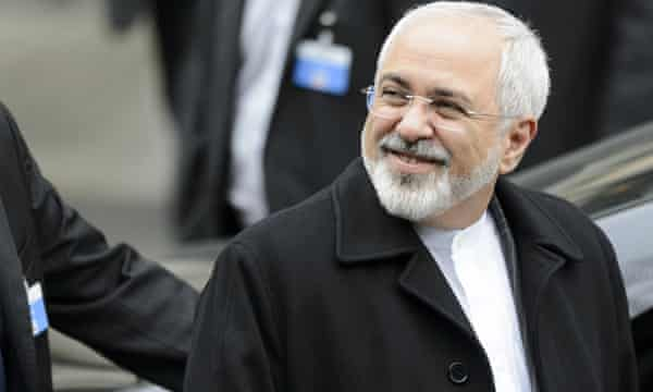 Iranian foreign minister Mohammad Javad Zarif leaves talks with John Kerry in Lausanne.
