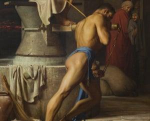 Samson turning a crank in Dansk's painting Hos Filistrene