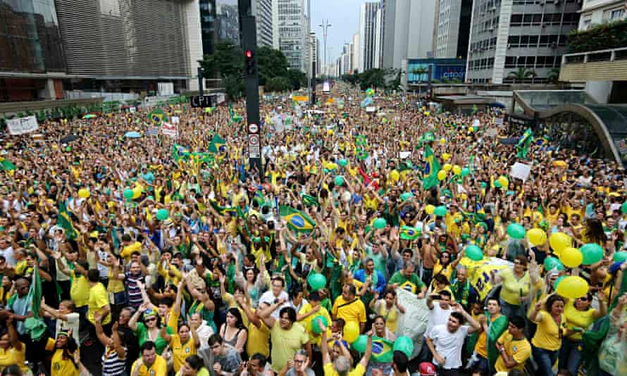 Demonstrators attend a protest against Brazil's President Dilma Rousseff at Paulista avenue in Sao P