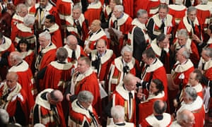 Peers leave the House of Lords following the state opening of Parliament.