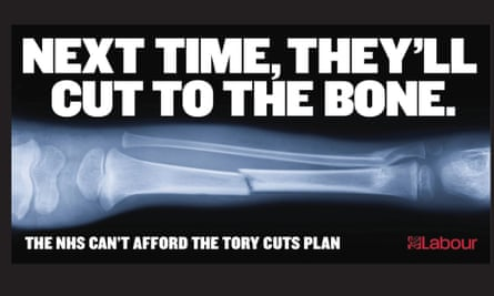 The Labour party election poster attacking the Conservative party's NHS policy.