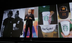 Howard Schultz launching Starbucks' #RaceTogether campaign