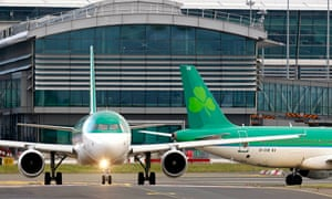 An Aer Lingus plane taxis before take off at Dublin airport