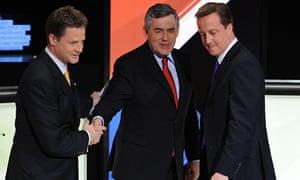 Clegg Brown Cameron TV debate