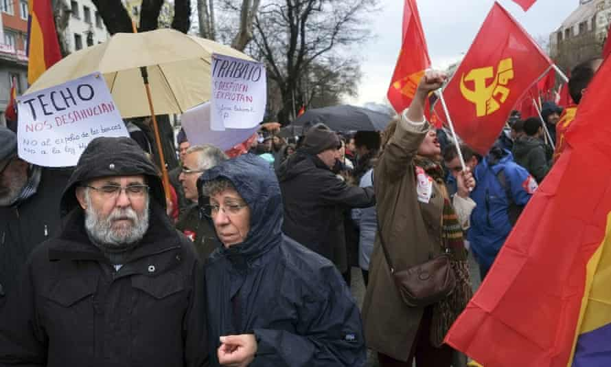 Demonstrators take part in an anti-austerity demonstration in Madrid.