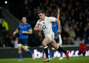 George Ford charges towards the line to score his try