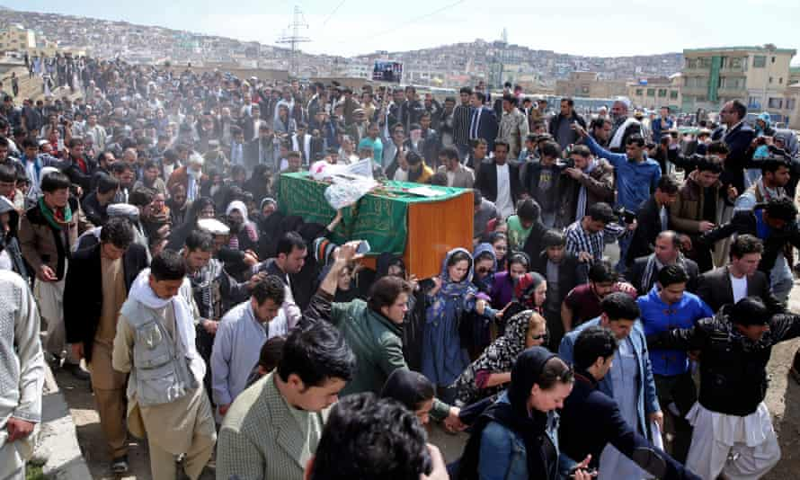 Farkhunda's funeral in Kabul. Thirteen people have been arrested in connection with her killing.