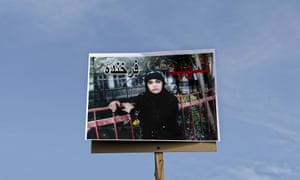 A picture of Farkhunda held up during her funeral ceremony in Kabul on Sunday.