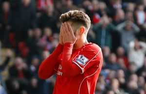 Lallana, best chance for a first half equaliser.