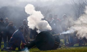 Reenactors fire a canon during a salute to Richard III during a ceremony in the presence of his remains at the site of the Battle of Bosworth,