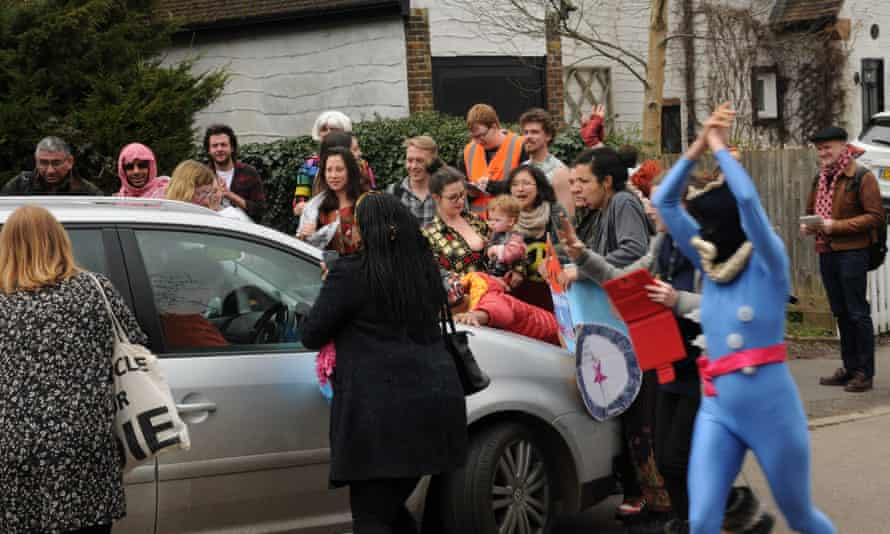 Protesters block the Ukip leader's car.