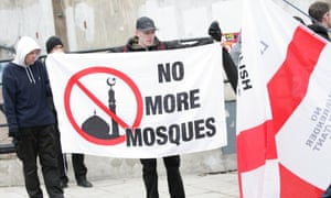 Dudley, 7 February 2015: English Defence League members protest against a proposed 'mega mosque' in the town.