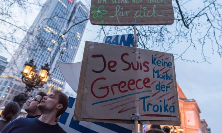 German anti-capitalist protesters show solidarity with Greece at a demonstration against the new European Central Bank headquarters in Frankfurt. Many Germans, however, are feeling more and more resentful.