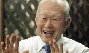 "Lee Kuan Yew at a press conference in Kuala Lumpur in 2001. He saw in the economic success of east Asia the triumph of ""Confucian values"": discipline, order, respect for education and authority over western values of individualism, liberalism and democracy."