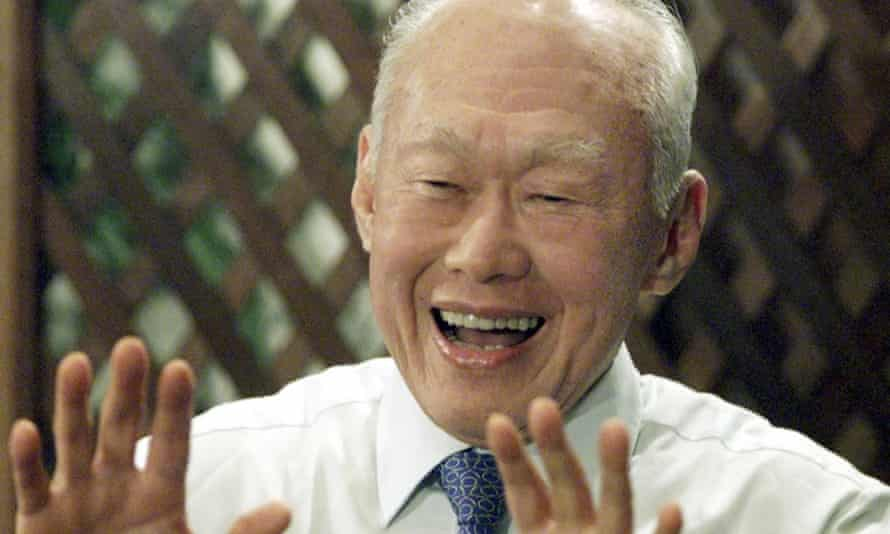 """Lee Kuan Yew at a press conference in Kuala Lumpur in 2001. He saw in the economic success of east Asia the triumph of """"Confucian values"""": discipline, order, respect for education and authority over western values of individualism, liberalism and democracy."""