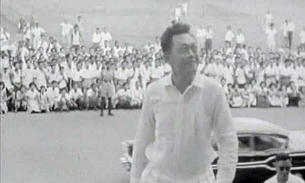 Lee Kuan Yew climbing up the steps at the city council chambers following the People's Action party's win in the national elections in Singapore in 1959, the year the country achieved independence.