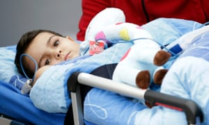 Ashya King arrives for proton beam therapy for his brain cancer at the Proton Therapy Centre in Prague in September.