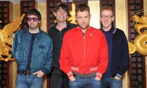 Graham Coxon, Alex James, Damon Albarn and Dave Rowntree of Blur attend a photocall as Blur are announced as a headliner for British Summertime Hyde Park, on February 19, 2015 in London, England