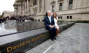 "David H. Koch, left, and Julia Koch as seen at the unveiling of the Metropolitan Museum of Art's new ""David H. Koch Plaza,"" on Tues., Sept. 9, 2014 in New York."