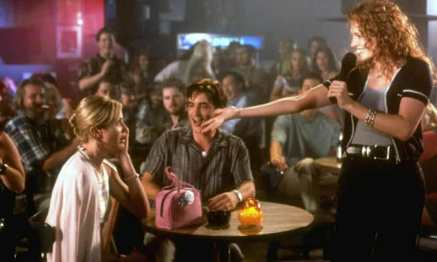 'Just a woman in love and alone' ... Julia Roberts, Camerion Diaz and Dermot Mulroney in My Best Friend's Wedding.