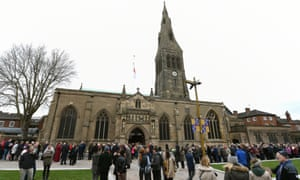 Queue stretching around Leicester Cathedral.