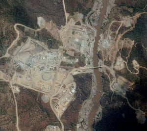 Ethiopia's Grand Renaissance Dam, here seen under construction from a satellite, will be the largest in Africa when it is completed.