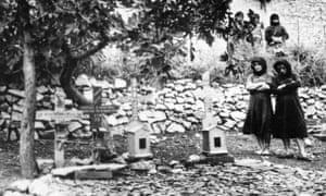 Women in graveyard of Distomo, Greece