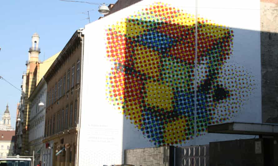 A Rubik's Cube, the famous puzzle cube that is actually a Hungarian invention, located on Rumbach Sebestyén utca.